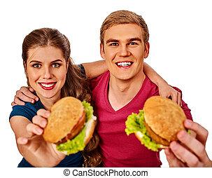 mulher, hamburger, par, rapidamente, alimento., comer come, homem
