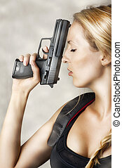 mulher, handgun