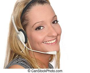 mulher, headset