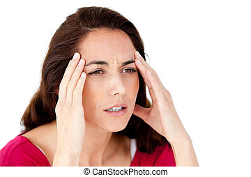 mulher hispânica, tendo, um, dor de cabeça