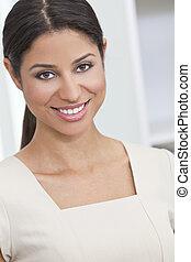 mulher, hispânico, sorrir feliz, bonito