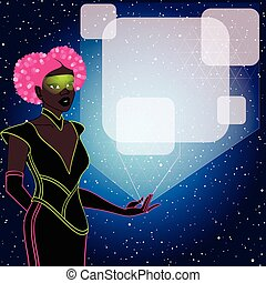 mulher, hologram, futurista