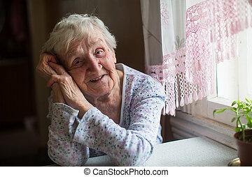 mulher, home., idoso, dela, sentando