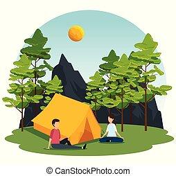 mulher homem, acampamento, paisagem, natureza