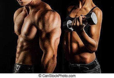 mulher homem, bodybuilding.