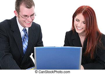 mulher homem, computador