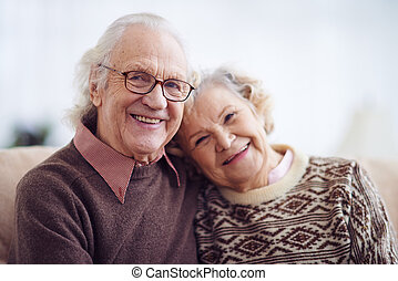 mulher, homem idoso