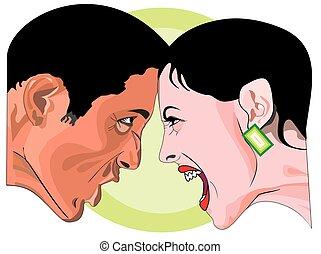 mulher homem, ilustração, luta