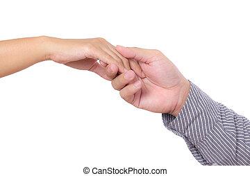mulher homem, isolado, segurando mão