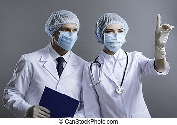 mulher homem, junto, trabalhando, doutores