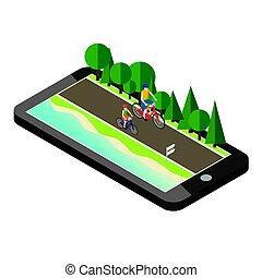 mulher homem, ligado, bicycles, estrada, perto, a, praia, e, forest., móvel, geo, localizando