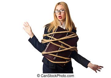 mulher, homem negócios, amarrado, com, corda