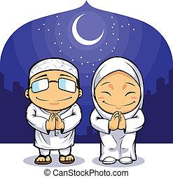 mulher homem, ramadan, muçulmano, saudação