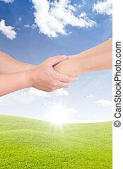 mulher homem, segurando mão