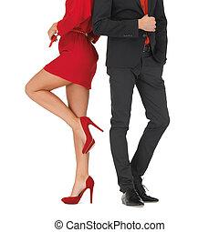 mulher homem, vestido, terno vermelho