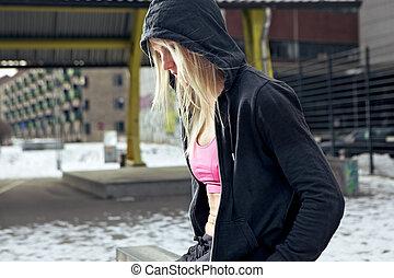 mulher, hoodie, condicão física