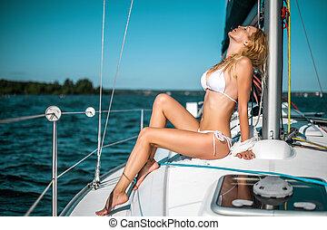 mulher, iate, venda, biquíni, branca, bote