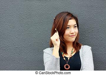 mulher, idéia, asiático