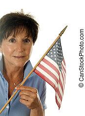 mulher, idade, americano, meio, bandeira, patriótico, sênior