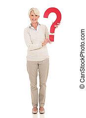 mulher, idade, pergunta, meio, marca, segurando
