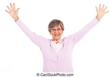mulher idosa, braços abrem