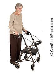 mulher idosa, com, caminhante