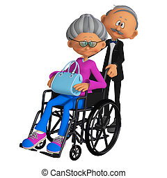 mulher idosa, sentando, em, a, cadeira rodas, 3d