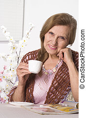 mulher, idoso, agradável