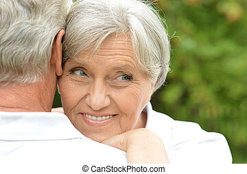 mulher, idoso, bonito