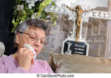 mulher, idoso, choro