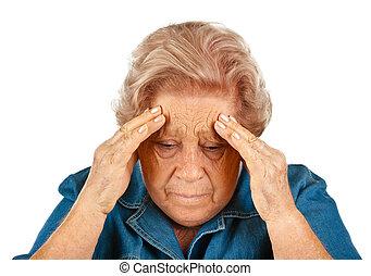 mulher, idoso, dores cabeça