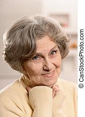 mulher, idoso, encantador