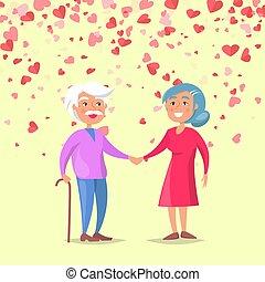 mulher, idoso, mão, vetorial, segurando, homem sorridente