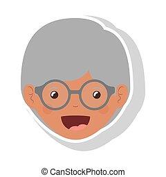 mulher, idoso, rosto, morena, frente, óculos