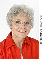 mulher, idoso, sorrizo