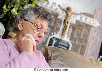 mulher, idoso, triste