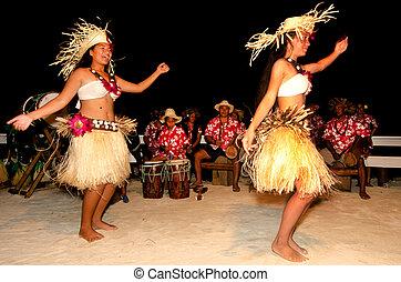 mulher, ilha, dançarinos, jovem, pacífico, tahitian,...