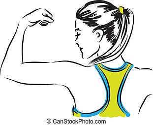 mulher, illustra, condicão física