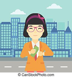 mulher, illustration., dinheiro, bolso, vetorial, pôr