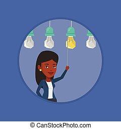 mulher, illustration., idéia negócio, vetorial, tendo
