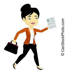 mulher, illustration., negócio, executando, vetorial, feliz