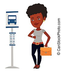 mulher, illustration., ponto ônibus, esperando, vetorial
