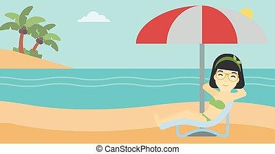 mulher, illustration., relaxante, vetorial, cadeira, praia