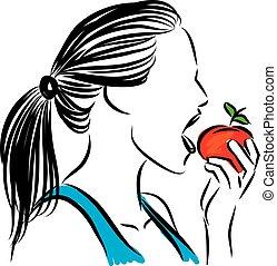 mulher, ilustração, comer, vetorial, maçã