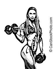 mulher, ilustração, condicão física