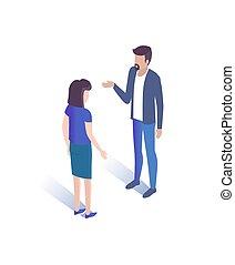 mulher, ilustração, falando, vetorial, junto, homem