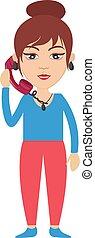 mulher, ilustração, telefone, experiência., vetorial, branca