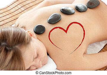 mulher, imagem composta, luminoso, mentindo, tabela, massagem