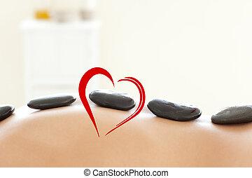 mulher, imagem composta, tabela massagem, mentindo