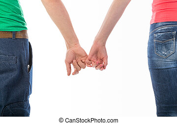 mulher, imagem, isolado, recortado, segurar passa, branca, vista, roupa, casual, parte traseira, homem